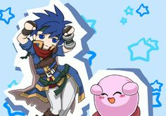 Ike and Kirby. lol <--- Ike hates these so much.