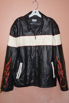 ONCE_AGAIN Vintage Motorcycle Leather Jacket w/Flames!  Check it out in ONCE_AGAIN's Bonanza Booth!