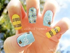 Bumble Bee Nails by jeealee.deviantart.com on @deviantART