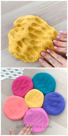 Gold play dough recipe + video tutorial - This easy and simple playdough recipe uses watercolors for some vibrant colorful play doh. St Patricks Day Crafts For Kids, St Patricks Day Food, St Patrick's Day Crafts, Daycare Crafts, Preschool Crafts, Easy Art For Kids, Fun Crafts For Kids, Toddler Crafts, Play Doh Knete