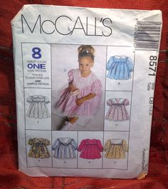 8571 Sewing Pattern McCall's Girls Toddler Dress w Collar Variations 2 3 4 #McCalls