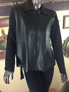 Sigrid Olsen Designer Leather & Silk Blend Jacket PL Mint Zip Sweater Jacket  | eBay