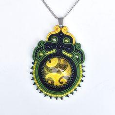 Weiteres - Soutache Halskette grün, schwarz und gelb - ein Designerstück von Avenna bei DaWanda