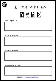 Free name writing printable for preschool, pre-k or kindergarten class. Practice to write your name with different tools.