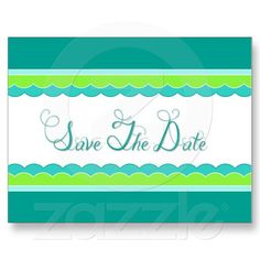 Fun Modern Lime and Teal Save The Date