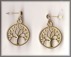 Tree of Life Charm Gold Plated Stud Earrings  by MadAboutIncense - $10.50