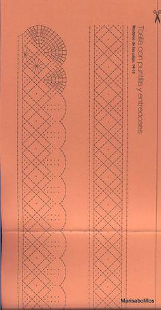 Foto: Bobbin Lace Patterns, Weaving Patterns, Crochet Books, Crochet Lace, Doily Art, Bobbin Lacemaking, Crochet Curtains, Quilt Border, Lace Heart
