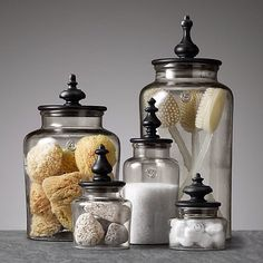 decor inspiration hacks designer budget, home decor, repurposing upcycling. Add decorative finials & paint to jars. save money at home, budget home decor Bathroom Spa, Bathroom Staging, Antique Bathroom Decor, Small Bathroom, French Bathroom Decor, Bathrooms Decor, Budget Bathroom, Washroom, Decorating A Bathroom