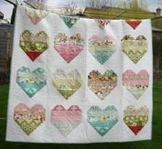Jelly Roll Quilt Pattern, Take Heart, via Craftsy. Pattern is $8.00 US