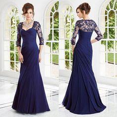 Vestido mae da noiva Sexy Spitze Gorgeous Mantel Abendkleid Drei Viertel Ärmeln Lange Mutter Der Braut Kleider Navy Blau //Price: $US $143.00 & FREE Shipping //     #dazzup