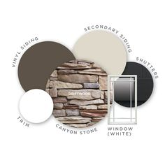 Refreshing your home color palette? Try out this palette inspired by colors of the driftwood. Stone Color: Driftwood; Siding Color: Misty Shadow; Window Color: White