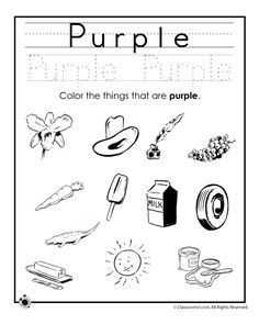 Learning Colors Worksheets for Preschoolers Color Purple Worksheet – Classroom Jr.