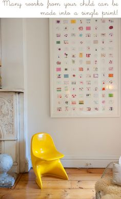 "Cool way to display all the ""kids"" art without saving everything~"