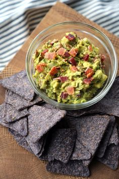 Two words: Bacon Guacamole. Use nitrate-free turkey bacon, sub chipotle powder to taste for the canned chipotles, and scoop with raw veggies or homemade sprouted-grain tortilla chips.
