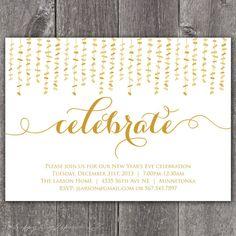 Celebrate - DIGITAL Custom New Year's Party Invitation