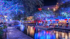 The San Antonio Riverwalk at Christmas time. We don't light a Christmas tree in San Antoine, we light the River.