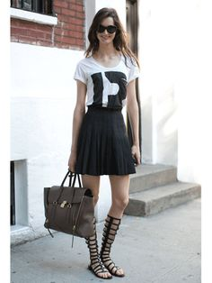 Gladiator sandals will add drama to the simplest of looks. #modeloffduty #nyfw #streetstyle