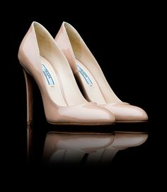Prada Patent Leather Round Toe Pump in Nude