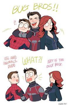 I love how he hugs peter but puts his hand on black widow's shoulder.