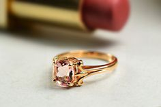 18 ct Rose Gold Morganite Engagement by DiorahJewellery on Etsy