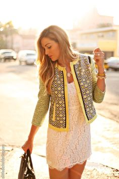 black and yellow tweed jacket + white lace shift dress