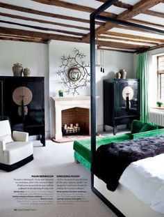 Only the best of Rustic luxury for this bedroom with pops of emerald!