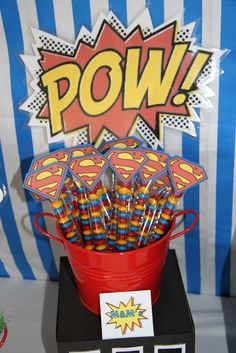 Superman Birthday Party M&M Tubes. Superman Birthday Party Ideas for Kids. Superman birthday party supplies, favors and decorations children will love. Superman Party Favors, Superman Birthday Party, Batman Party, 1st Birthday Parties, Boy Birthday, Superhero Superman, Superhero Treats, Superhero Party Bags, Superhero Favors