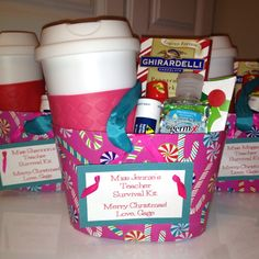 Teacher Survival Kit: Coffee mug, Starbucks card, Chocolate, Hand Sanitizer, Advil & 5 Hr Energy
