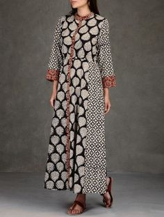 Black-Beige Natural Dyed Ajrakh-Printed Side Tie-Up Waist Cotton Maxi Dress