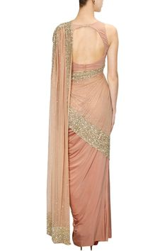 Rose embroidered dupatta attached blouse with cowl drape skirt. A cross between a sari and a dress with stunning results + Saree Gown, Sari Dress, Pakistani Outfits, Indian Outfits, Sari Blouse Designs, Elegant Saree, Party Wear Sarees, Draped Dress, Saree Styles