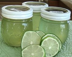 jelly jars] This lime jelly is sweet with bursting lime flavor. I only make this when I can get the limes on sale. Dont use too much food coloring as it will look artificially green. Found this recipe on-line. Chutneys, Lime Jelly Recipes, Key Lime Jelly Recipe, Homemade Jelly, Canned Food Storage, Jam And Jelly, Mint Jelly, Home Canning, Canning Tips
