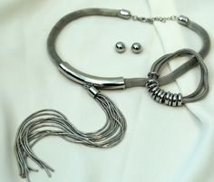 Silver Necklace and Earring Set- 1266S Matching Bracelet -9178B
