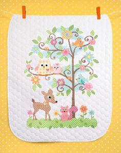 """Stamped Cross Stitch Kit 43"""" x 34""""  HAPPI TREE Quilt"""