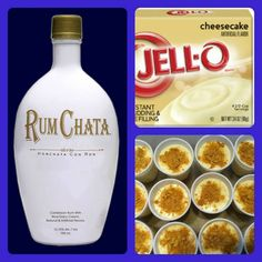 Rum Chata Cheesecake Pudding Shots 1 small pkg. Cheesecake pudding (instant, not the cooking kind) ¾ Cup Milk ¾ Cup Rum Chata 8oz tub Cool Whip  Whisk together the milk, liquor, and instant pudding mix in a bowl until combined. Add cool whip a little at a time with whisk. Spoon the pudding mixture into shot glasses, disposable 'party shot' cups or 1 or 2 ounce cups with lids.  Garnish with graham cracker crumbs if desired.  Place in freezer for at least 2 hours.