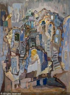 Mordechai Levanon (Israel, 1901-1968)  'The old city of Safed'