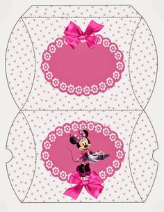 Minnie with Pink Polka Dots: Free Printable Pillow Box.