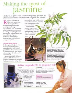 Jasmine evokes feelings of warmth & of passion. Regarded as the 'king of flower oils', jasmine is an effective aphrodisiac bringing out inner desires & restoring sexual energy & confidence. Used as a massage oil or to fragrance a room, jasmine is soothing & uplifting to the emotions. www.fb.com/HealingLotusAromatherapy
