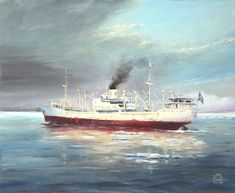 M/S Ceylon Oil, canvas. Price 40 x Nautical Painting, Nautical Art, Ship Paintings, Tall Ships, Ship Art, Boats, Art Gallery, Watercolor, Canvas