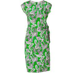 ETRO Apple Green-Multi Printed Silk Dress ($1,070) ❤ liked on Polyvore