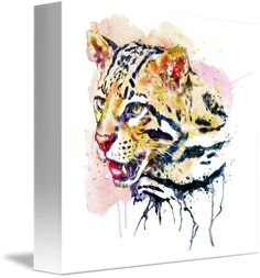 """""""Ocelot+Head""""+by+Marian+Voicu,+Bucharest+//+Watercolor+art+is+an+awesome+idea+for+a+wall+decor.+My+art+is+suitable+for+home+or+office+decor+and+the+perfect+solution+for+a+last+minute+gift.+//+Imagekind.com+--+Buy+stunning+fine+art+prints,+framed+prints+and+canvas+prints+directly+from+independent+working+artists+and+photographers."""