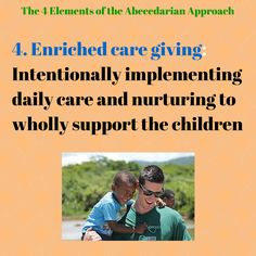 "It is the belief of the Abedecarian approach that enriched care giving cannot be separated from education, or viewed as non-correlating ideas. Care is seen as ""vital needs that support life and stimulate growth"" (Sparling, 2010), that must be adjusted to each child's personal abilities, desires and background or home situation. Ivy Tech, Visible Learning, 4 Element, Early Intervention, Jungle Theme, Toddler Fun, Nurse Life, Love Life, The Funny"