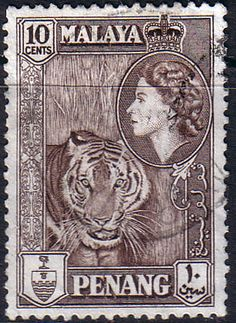 Malay State of Penang 1957 Queen Elizabeth Tiger Fine Used SG 49 Scott 50 Other Asian and British Commonwealth Stamps HERE!