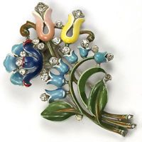 Trifari Philippe 3 Flowers and Lily of the Valley Spray Floral Posy Pin Clip
