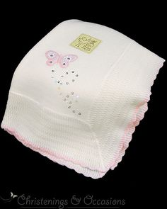 Baby girls white and pink christening / new baby shawl with butterfly motif