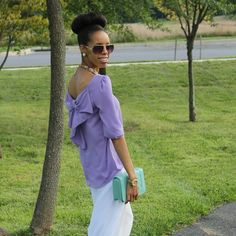 Lavender Bow Blouse Francesca's brand. Worn once for photo. Francesca's Collections Tops Blouses