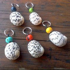 Zebra Seashell ans Acai beads charms  set of 5 dog by RumCay, $12.96