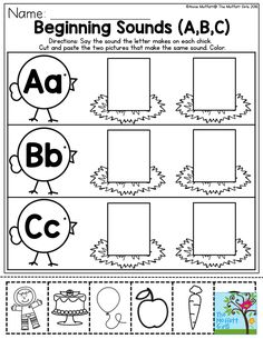 Beginning Sounds- Help preschool students master their letter sounds A to Z with these fun interactive worksheets! It's easy, just print and teach! Preschool Literacy, Preschool Letters, Letter Activities, Kindergarten Literacy, Learning Letters, Literacy Centers, Pre K Worksheets, Cut And Paste Worksheets, Preschool Worksheets