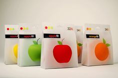 Fruit Fit by Tiffany Shih, via Behance.  See-through packaging for the actual apples.