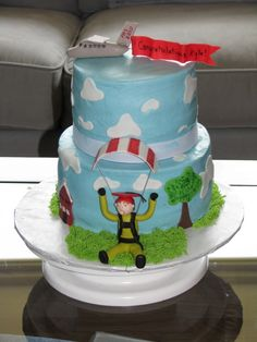 Graduation cake for a young man who recently went skydiving for the first time. the plane represents his high school and he has landed at his new college! Cake Cookies, Cupcake Cakes, Cupcakes, 40th Cake, New College, Cake Central, 40th Birthday, Birthday Ideas, Skydiving