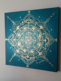 Gold and Turquoise Mandala Acylic on Canvas von JenniferAnnFineArt